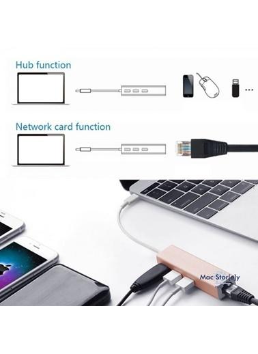 Mcstorey Usb-c Ethernet 3XUsb3.0 Typ-c Hub MacBook Dönüştür A1534 A1706 A1708 A1707 A1989 A1990 1017 Gümüş